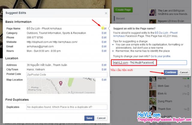 thay đổi tên fanpage facebook