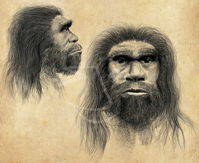Homo neanderthalensis. Ilustración de Stuart Jackson-Carter.