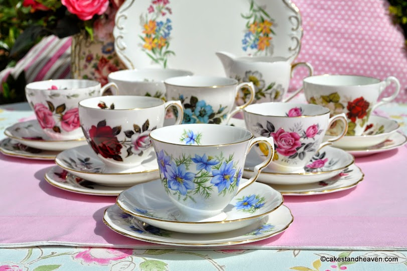 colourful floral eclectic vintage tea set and cake plate