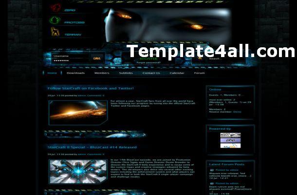 Dark Blue Starcraft Games E107 Theme Template