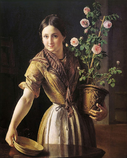 Vasily Tropinin - Girl with roses