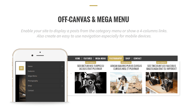 Off-canvas and mega menu