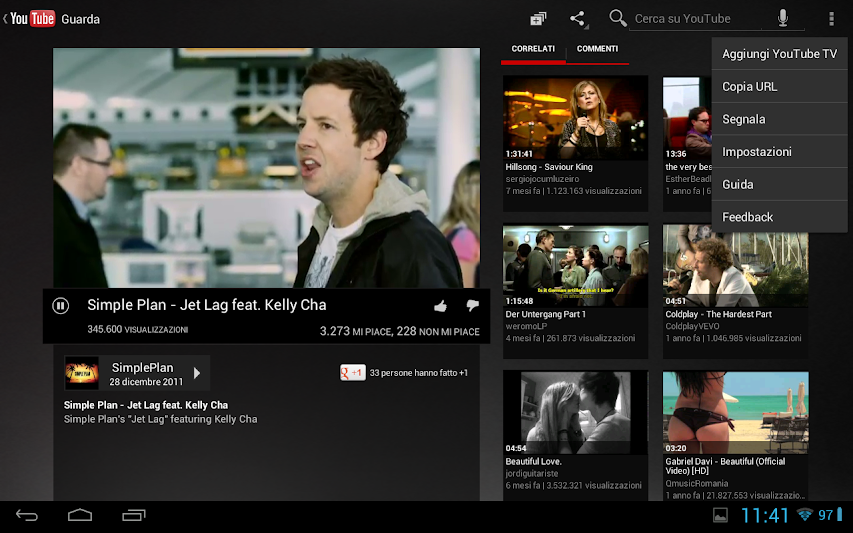 YouTube in modalità tablet è molto bella e comoda da usare !