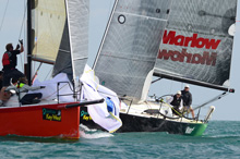 J/111s sailing Key West- rounding mark