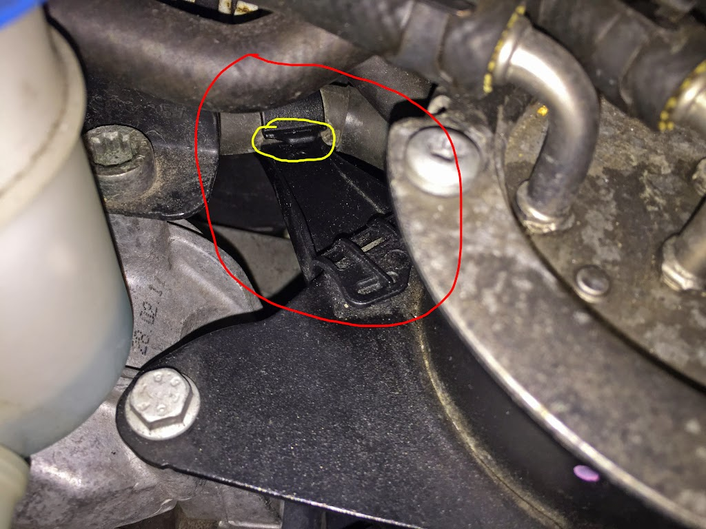 Broke A Plastic Clip Near Fuel Filter Looking For The Part Number 2011 Jetta 2 5 Circled In Red Is Piece That I Am Talking About Attached To Coolant Hose And Housing Yellow Where Tried