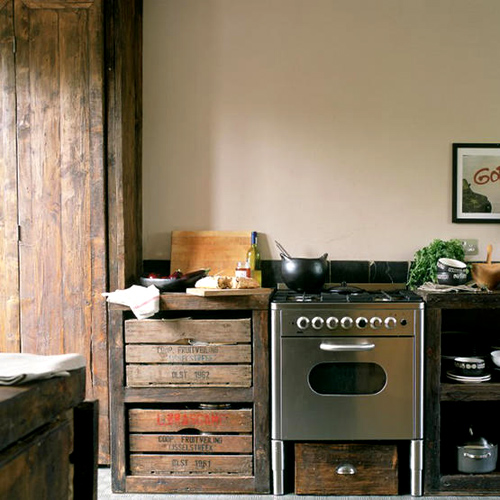Reused Kitchen Cabinets: Natural Modern Interiors: Kitchen Design Ideas :: Recycled