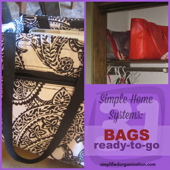 Get out the door quicker, easier, and with less stress. Keeping various bags ready for regular activities will get you there with ease.