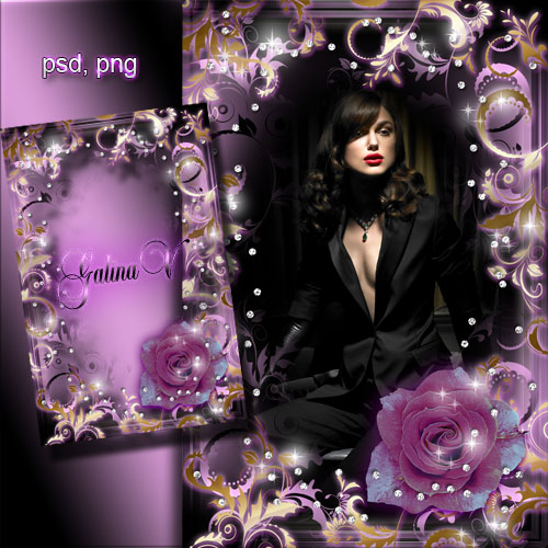 Женская рамка - Гламурная роза в сиянии бриллиантов