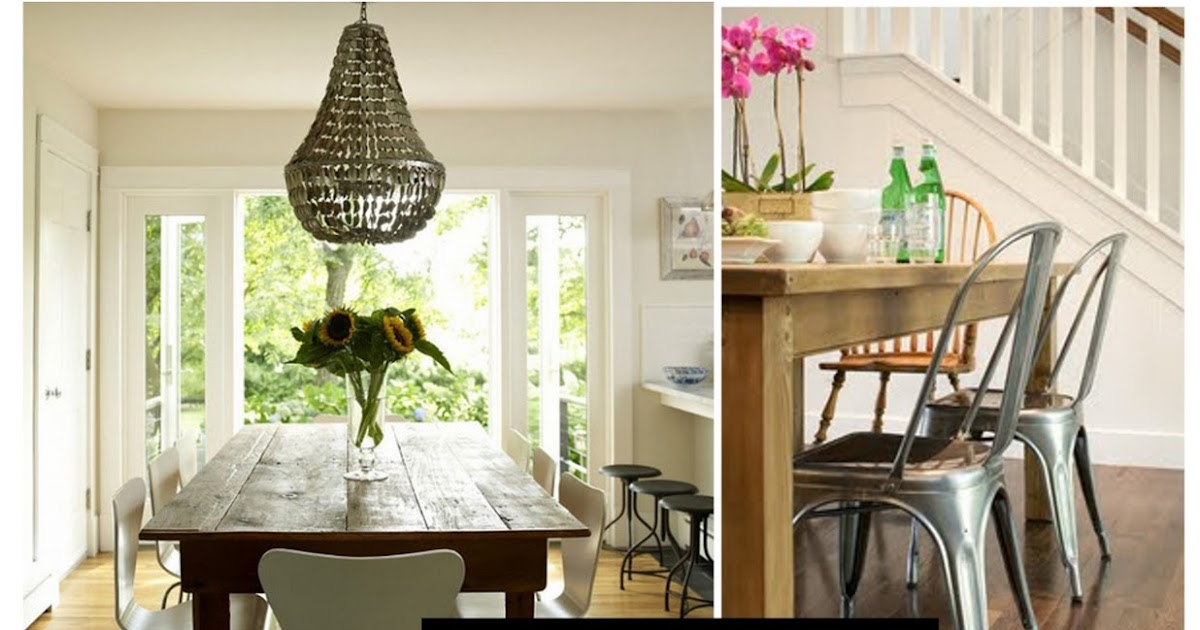 Pinecone farmhouse table & modern chairs