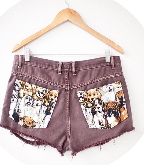 Inspiração cachorros - short bolso estampado - customização
