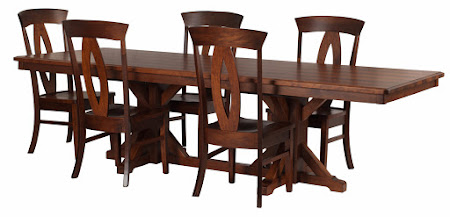 110 x 42 Alexandria Dining Table and Rio Chairs, in Ruby Walnut and Hickory