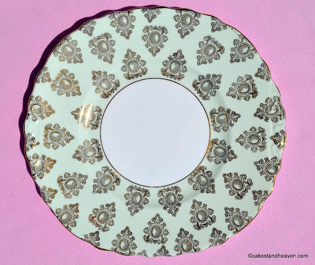 Colclough pale green and gold filigree cake plate