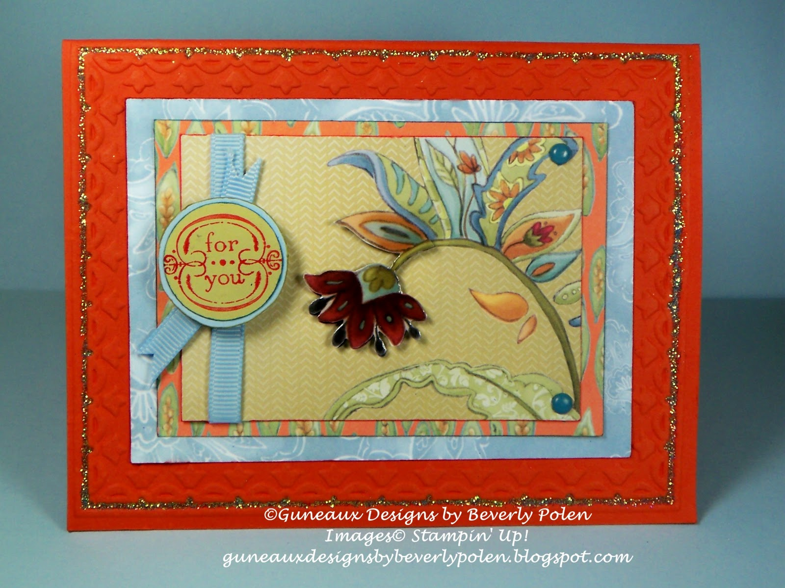 Guneaux designs by beverly polen greeting card idea stampin up to emphasize the beautiful light blue dsp i used stampin up glitter fine cosmo light blue around the border of the framed tulips embossing on the card m4hsunfo