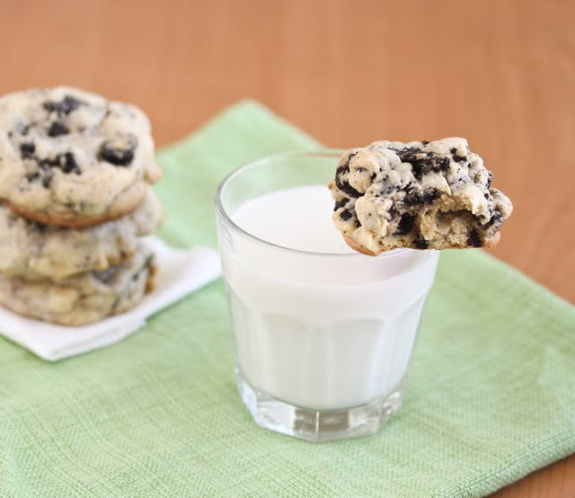 photo of a cookie with a glass of milk