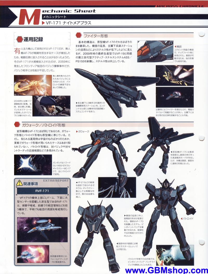 Macross Frontier VF-171 Nightmare Plus Mechanic & Concept Macross Chronicle
