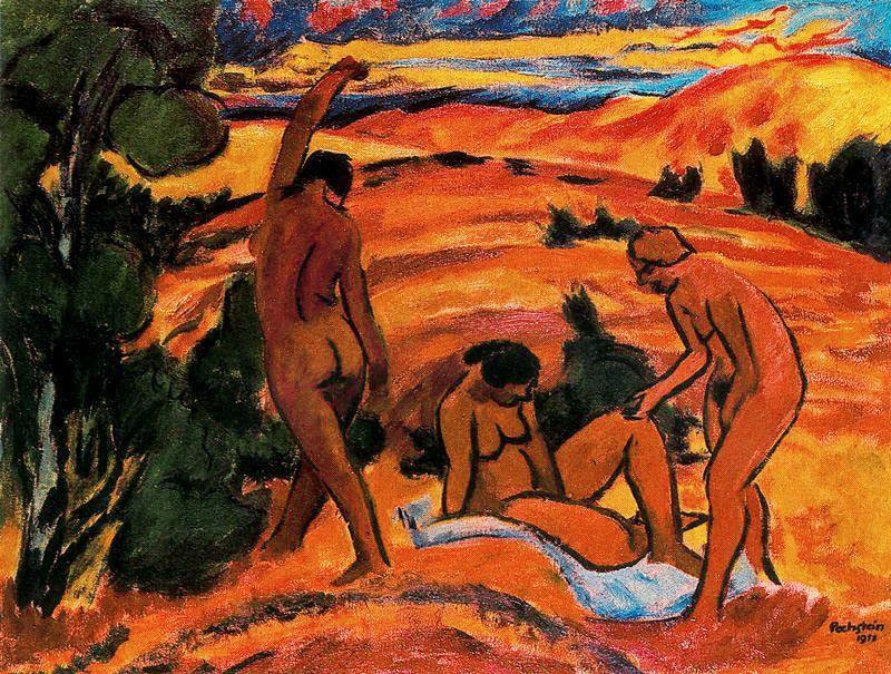 Max Pechstein - Three Nudes in a Landscape