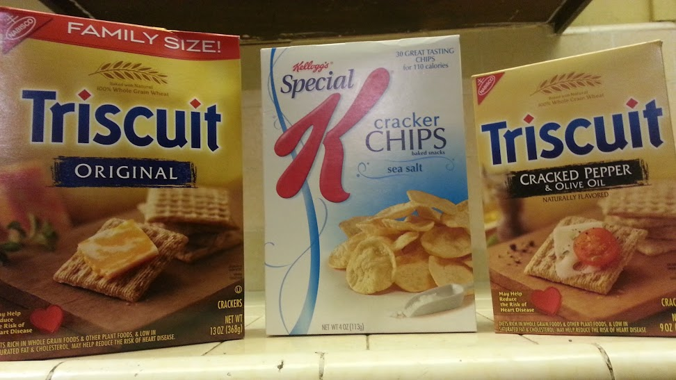 Triscuits, Special K Potato Crisps, Triscuits with Cracked Pepper and Olive Oil