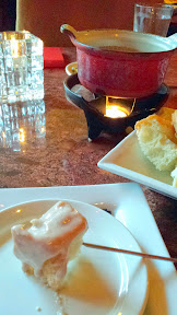 Urban Fondue menu, Ruby Port Cheese Fondue with white cheddar, Swiss and Gruyere cheeses, finished with caramelized sweet onions and port wine