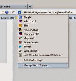 Cara Setting Firefox untuk Merubah Search Engine/Mesin Pencari Default select manage search engines thumb