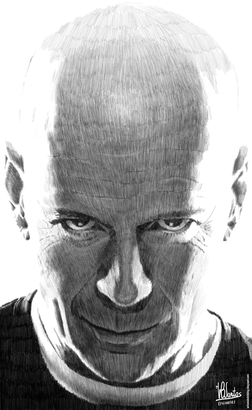Pencil drawing of Bruce Willis, using Krita 2.7 Alpha.