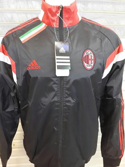 Jual Jaket Parasut AC Milan Hitam List Merah 2014-2015