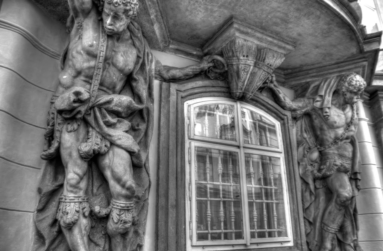 Prague building facade in black and white