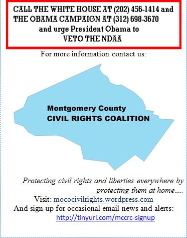 Flyer: Call the Obama campaign, urge Obama to veto the NDAA