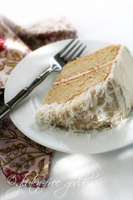 A slice of gluten-free coconut layer cake