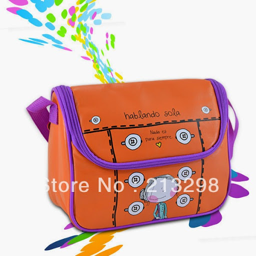 Orange candy color lovely lunch messenger bags for kids