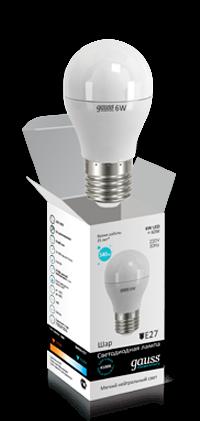 Светодиодные лампы Gauss Elementary шар 6W E27
