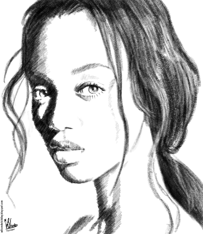 Pencil sketch for Tyra Banks, using Krita 2.5.