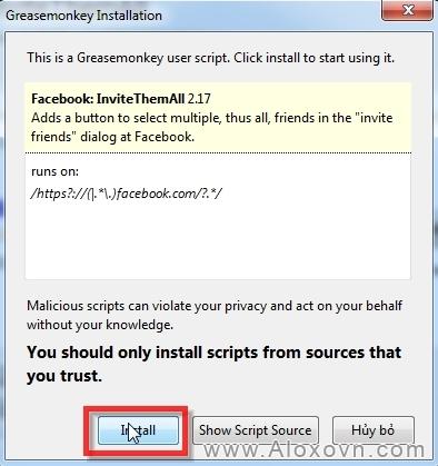 Cài đặt Facebook-InviteThemAll bước 2