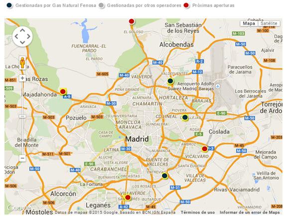 Mapa de las 6 estaciones de suministro público de GNC en Madrid - marzo 2015