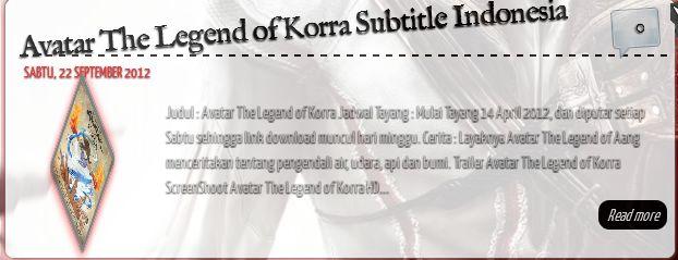 Judul : Avatar The Legend of Korra Jadwal Tayang : Mulai Tayang 14 April 2012, dan diputar setiap Sabtu sehingga , readmore,... By Dimaz