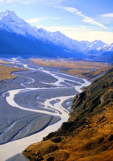 Glacier streams at Mt. Cook New Zealand