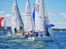 J/24 one-design sailboats- sailing downwind