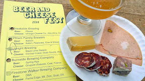 Portland Beer and Cheese Festival 2014, a pairing of beer and cheese, here Burnside Brewing Company Spring Rye with Gruyere d'savoie – cow - France. Also, Olympic Provisions charcuterie