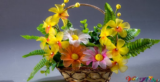 Giỏ hoa voan