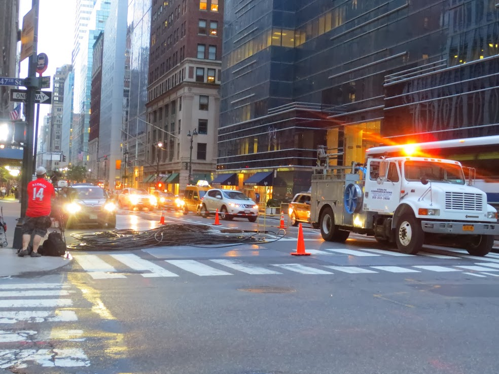 Stealth Fiber Crew installing fiber optic cables underneath the streets of Midtown Manhattan
