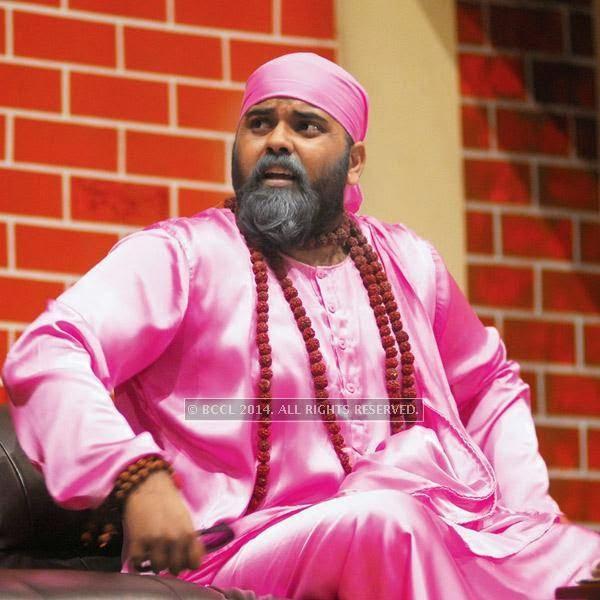 Durgesh Dwivedi as Komal Baba in the play Hum Do Hamare Woh staged at Ravindra Rang Manch, Jaipur.