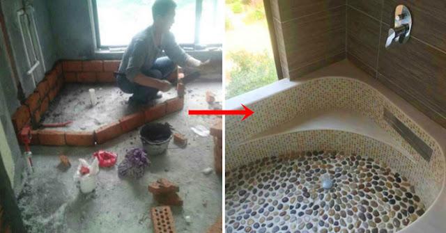 Chồng nghèo vẫn chiều vợ như công chúa: Tự nhặt đá cuội về xây bồn tắm cho vợ chỉ 1,7 triệu