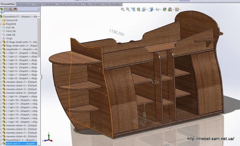 проект кровати-корабля с проставленными некоторыми размерами