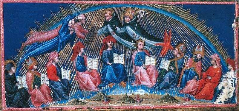 Giovanni di Paolo - Illustration of Dante's Paradiso, canto X.The First Circle of the Twelve Teachers of Wisdom Led ThomasAquinas