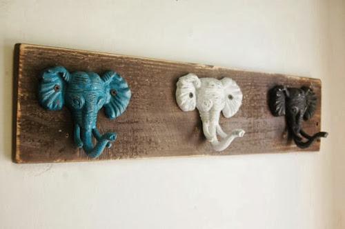 Elephant wall hooks, pineknobsandcrickets.etsy.com, wall hooks