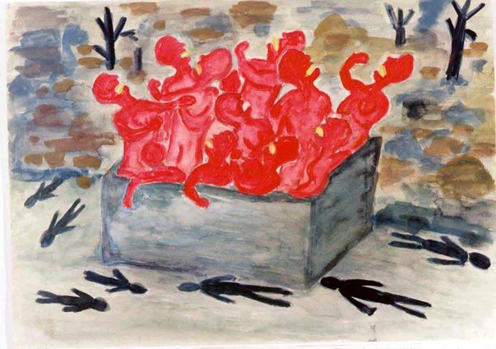 Desenho de um sobrevivente da bomba atômica