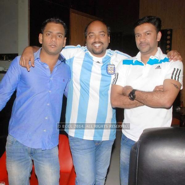 Rajesh, Rahul and Vipin during the special screening of the FIFA World Cup 2014 finals, held at Le Meridien, in Bangalore.