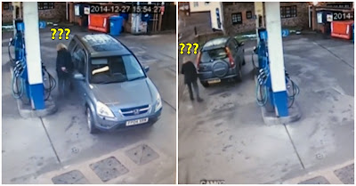 Mulher não consegue encontrar o depósito de combustível do carro