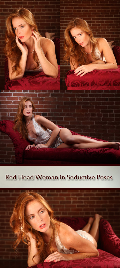 Red Head Woman in Seductive Poses