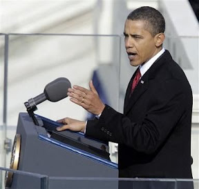 President Barack Obama delivers his inaugural address at the U.S. Capitol in Washington, Tuesday, Jan. 20, 2009.  (AP Photo/Jae C. Hong)