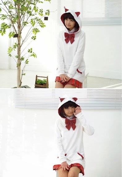 putih, merah, check cat hoodie, baby terry, Hoodie, hoodie korea murah, korea, murah, warna, Pre Order, fashion korea, hoodie lucu